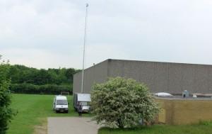 TV-Ishøj`s linkvogn med en 20 meter høj hydralisk mast